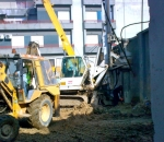 Construction of foundation bored piles Ø1000mm using bentonite mud for the construction of a Zara store, in Volos