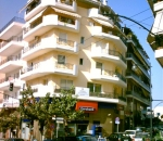 View of building wih Eurobank branch and apartments at Chrysostomou Smyrnis str, in Vyronas area (retaining structures)